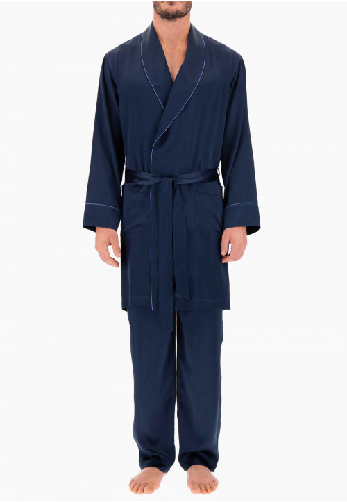 Long Silk Men's Dressing Gown