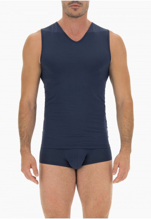 Men's sleeveless vest in recycled stretch cotton